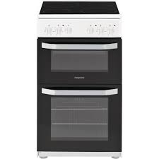 Hotpoint 50cm Electric Twin Cavity Cooker- White-0