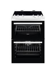Zanussi 60cm Ceramic Electric Cooker with Double Oven White-0